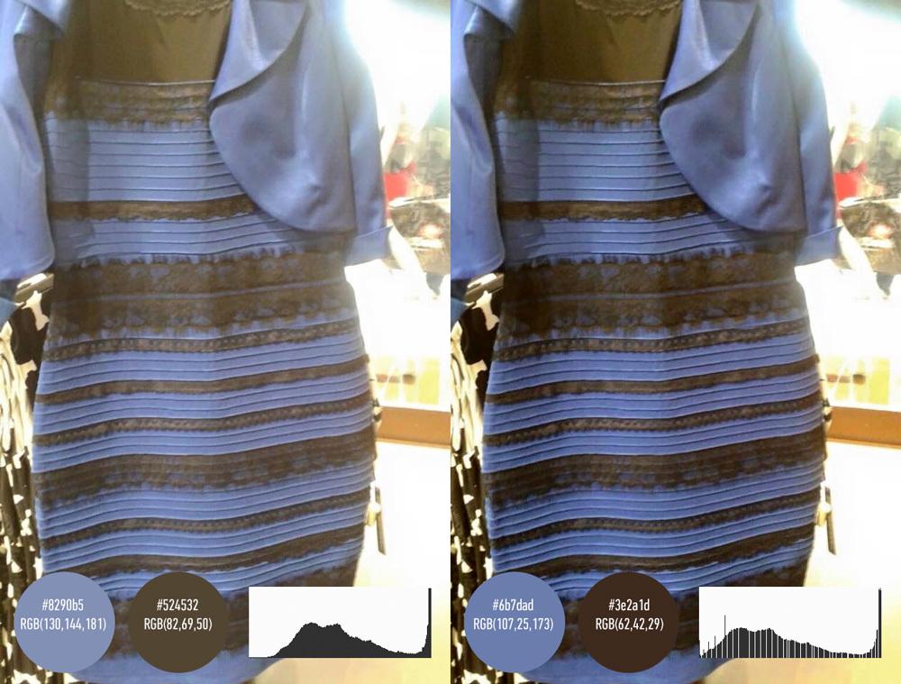 Фото платья бело золотое и сине черное платье