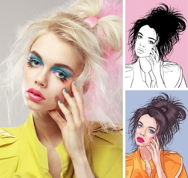 Outstanding vector portrait tutorial images