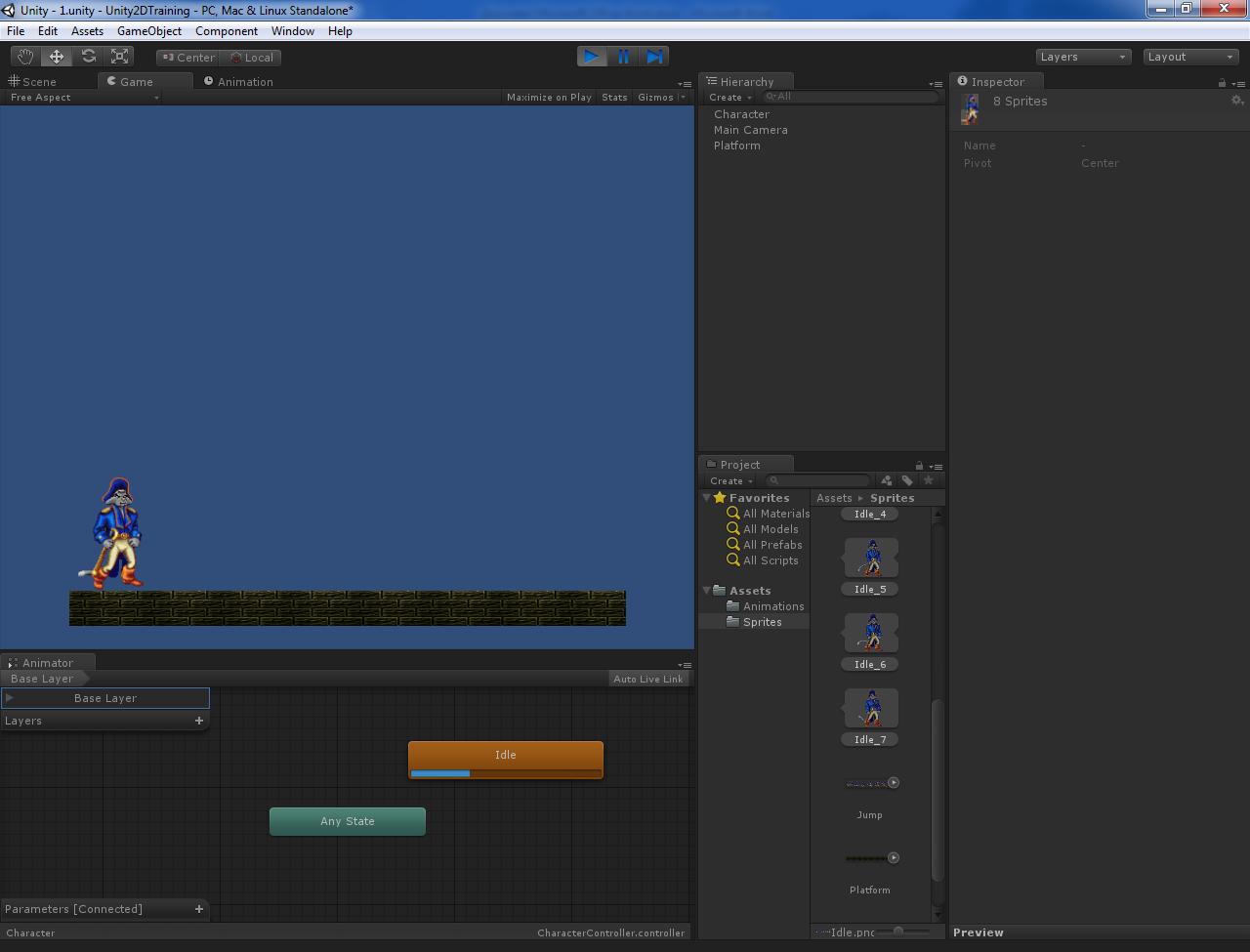 Основы создания 2D персонажа в Unity 3D 4.3. Часть 1: заготовка персонажа и анимация покоя / Хабрахабр