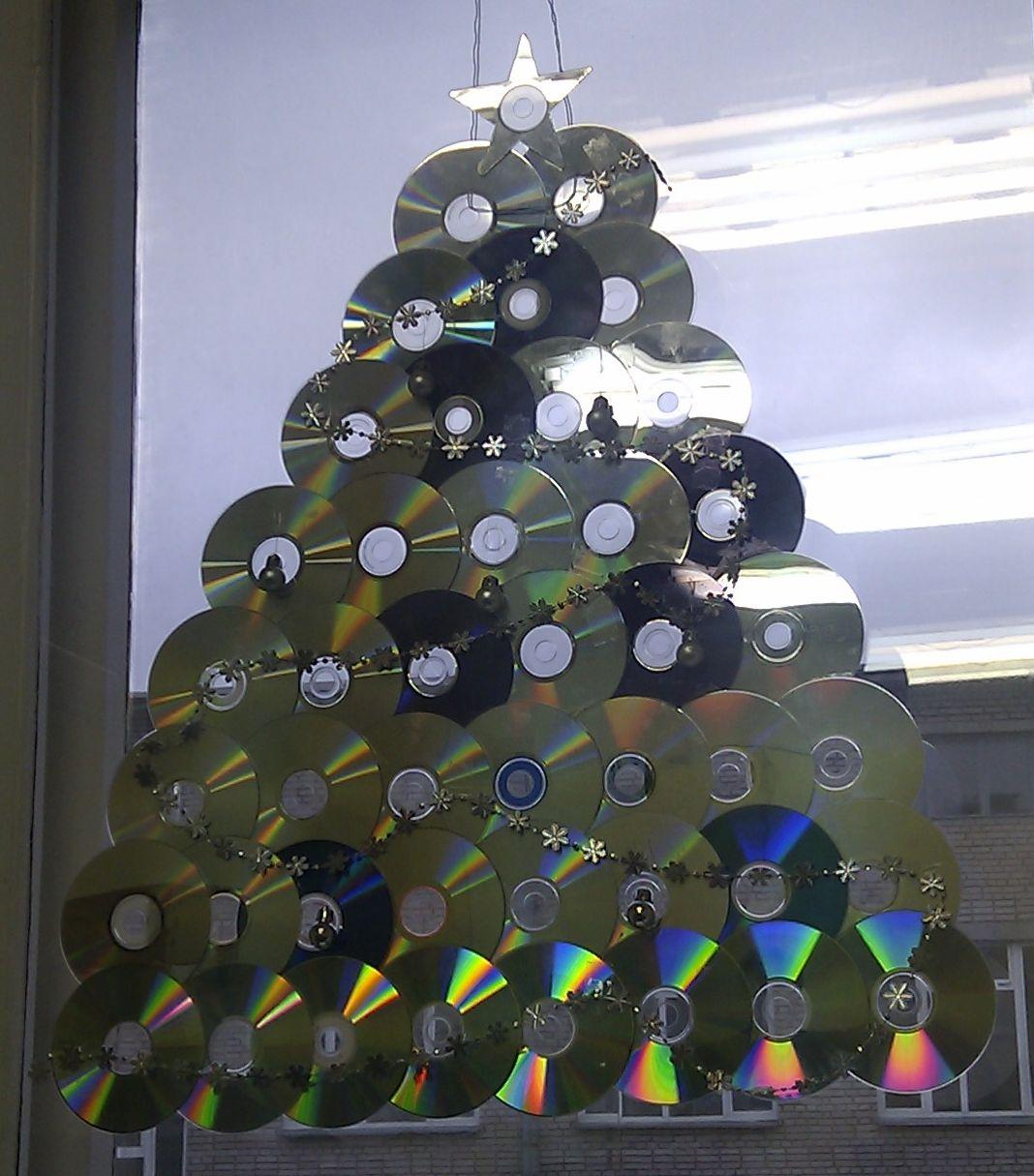 Украшения из дисков к новому году своими руками