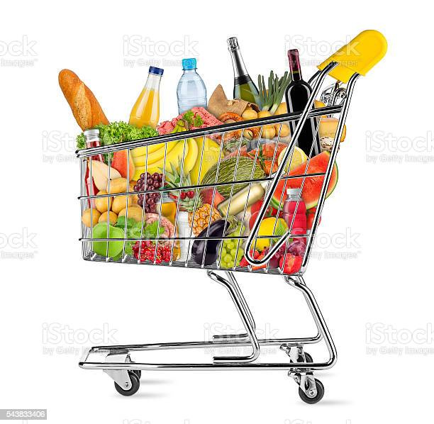 isolated-shopping-cart-filled-with-food-picture-id543833406?s=612x612