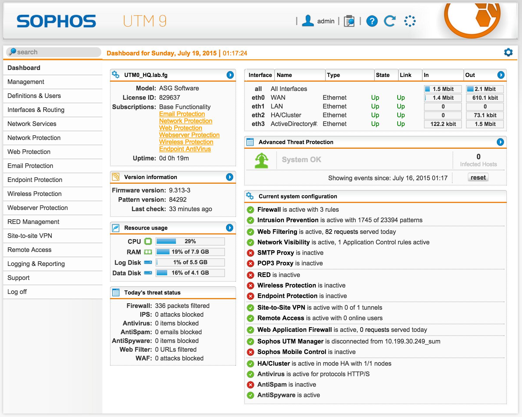 Организация веб-доступа на базе Sophos UTM