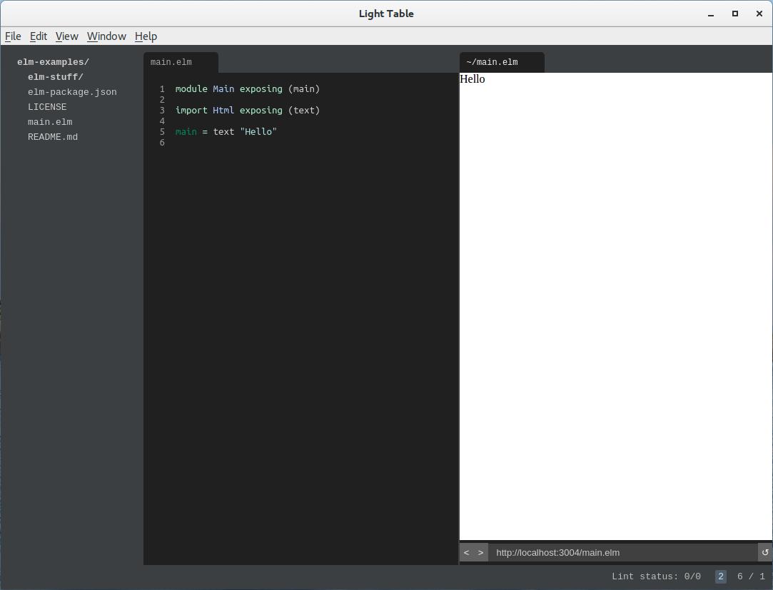 LightTable с запущенным приложением на Elm
