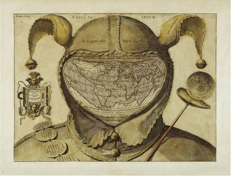 The Fool's Cap Map of the World, 1590. The map shows the world