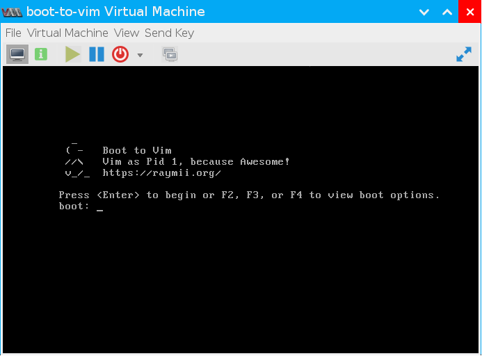 Boot to Vim (вікно завантаження)
