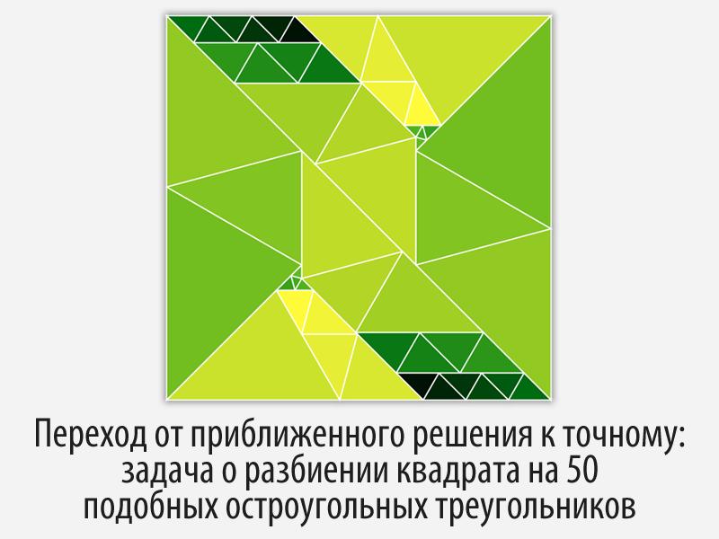 Переход от приближенного решения к точному: задача о разбиении квадрата на  ...