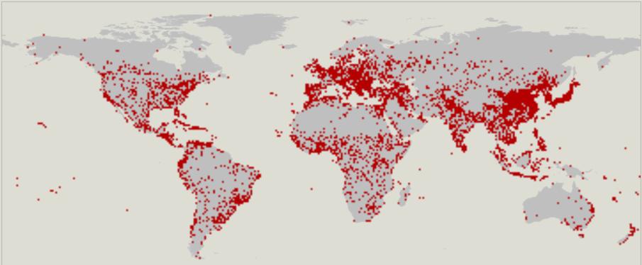 Города, отмеченные точками