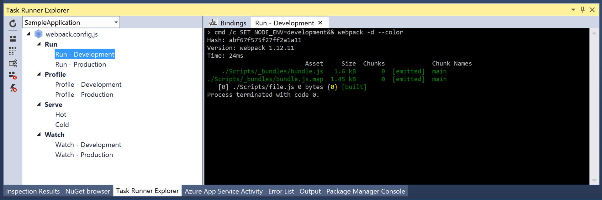 Webpack Task Runner Console