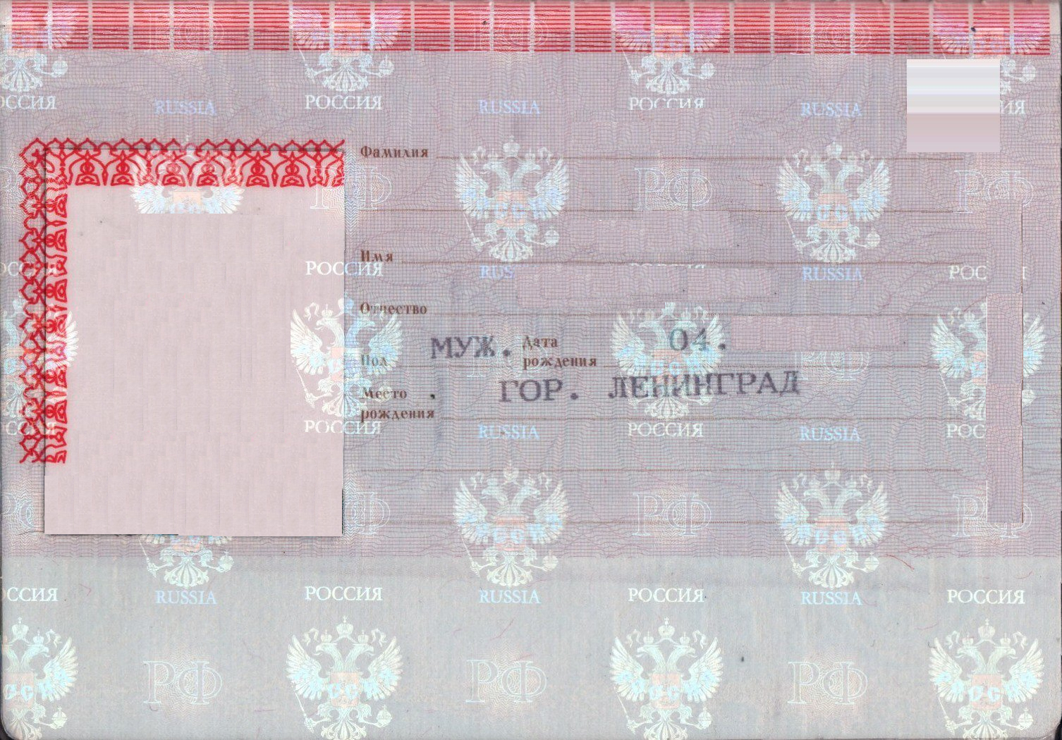 паспорт гражданина рф бланки
