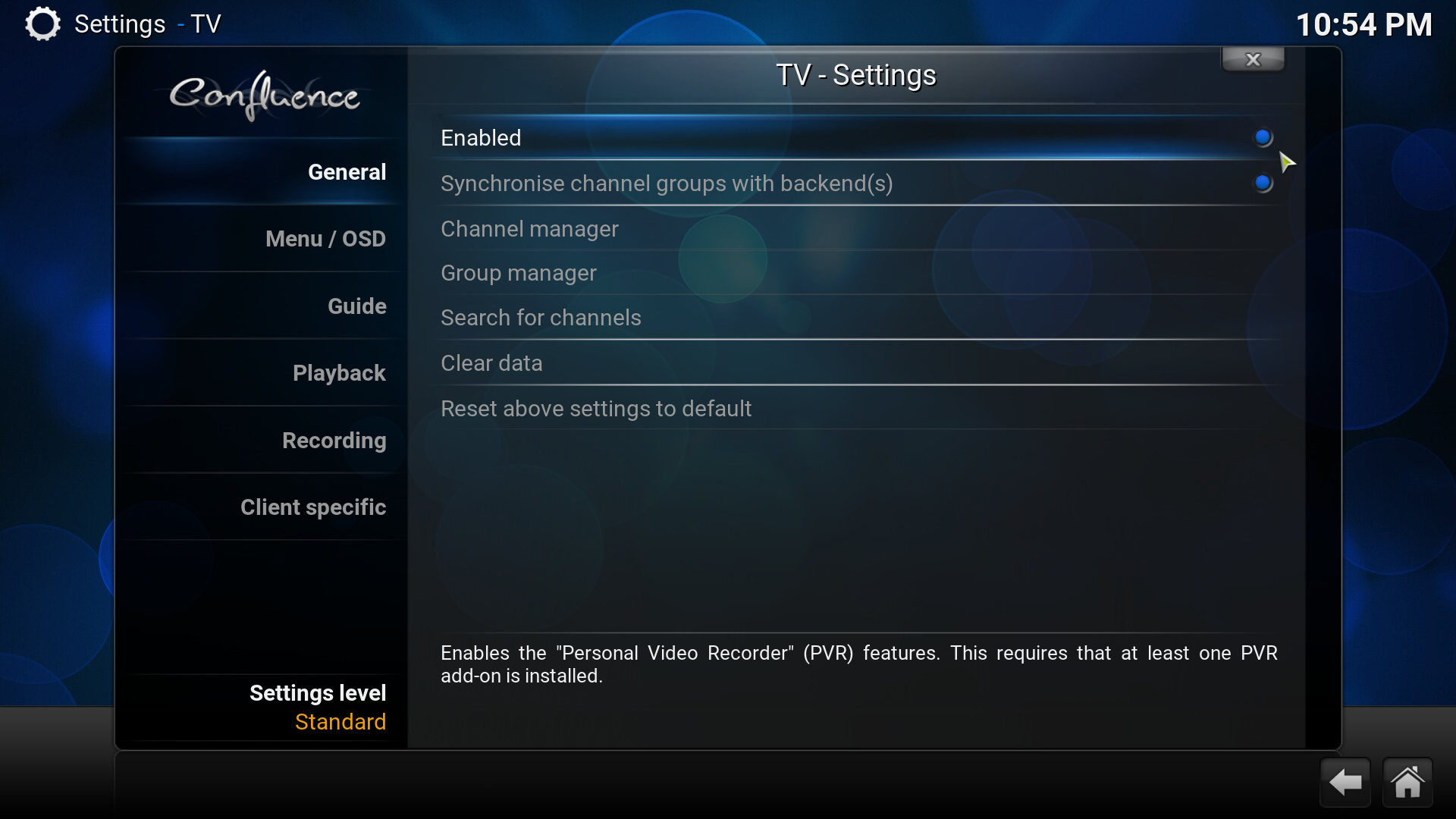 kodi settings enable live tv screenshot