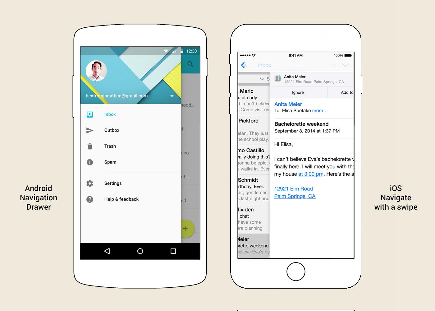 Das Seitenmenü (Hauptmenü) (Navigation Drawer) in Android und das Navigare mit einer Swipe-Funktion in iOS.