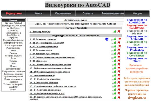 Видеоуроки по AutoCAD