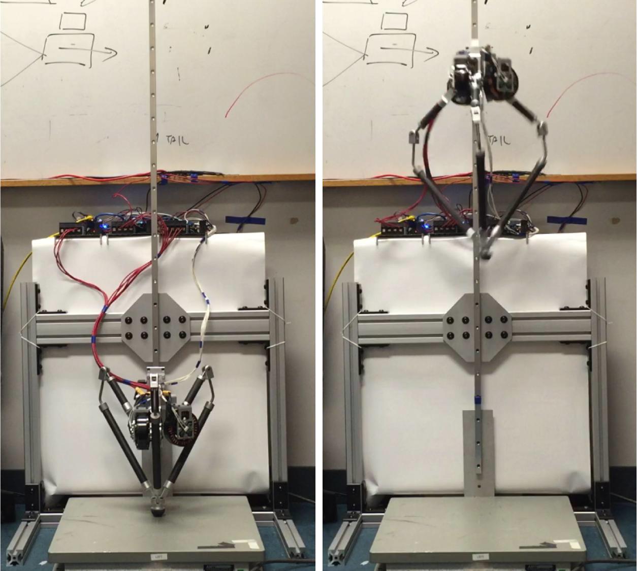 Студент сконструировал механическую ногу для робота, которая прыгает в два раза выше своей высоты