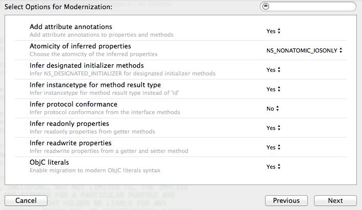 Xcode 6 Objective-C Modernization Tool