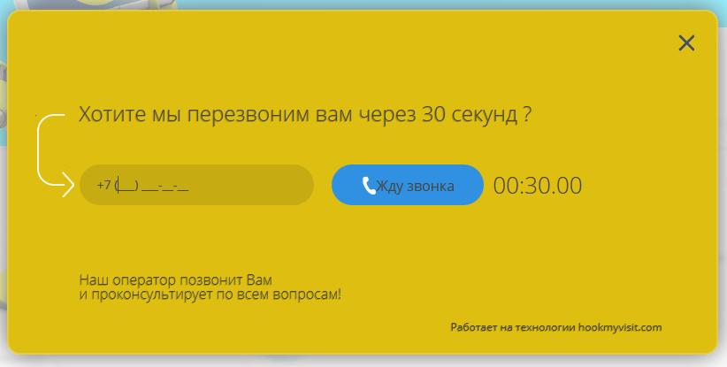 обратный звонок кнопка на сайт