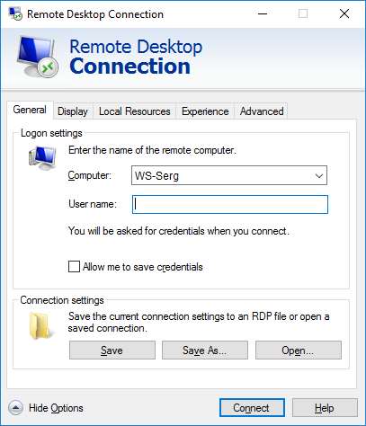 RDP connection