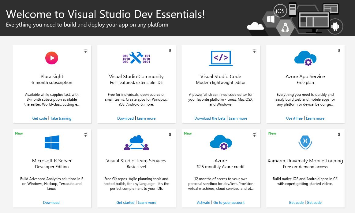 Бесплатный пакет возможностей для разработчика: Visual Studio Dev Essentials