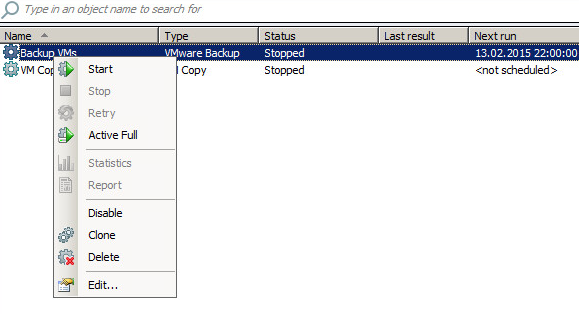 An example of a created task for backing up virtual machines to the cloud