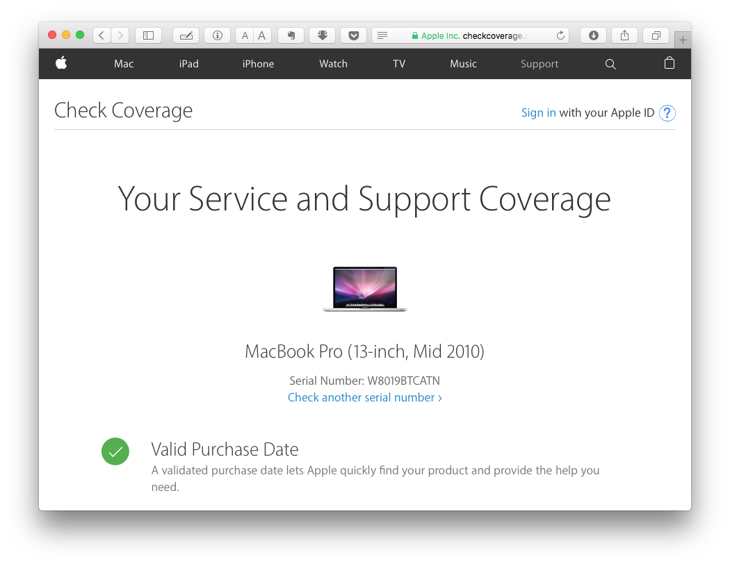 macbook pro a1278 check serial number