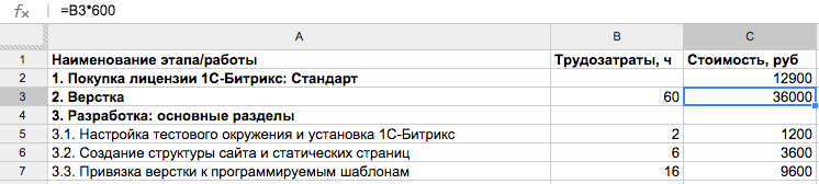 Первая версия таблицы оценки