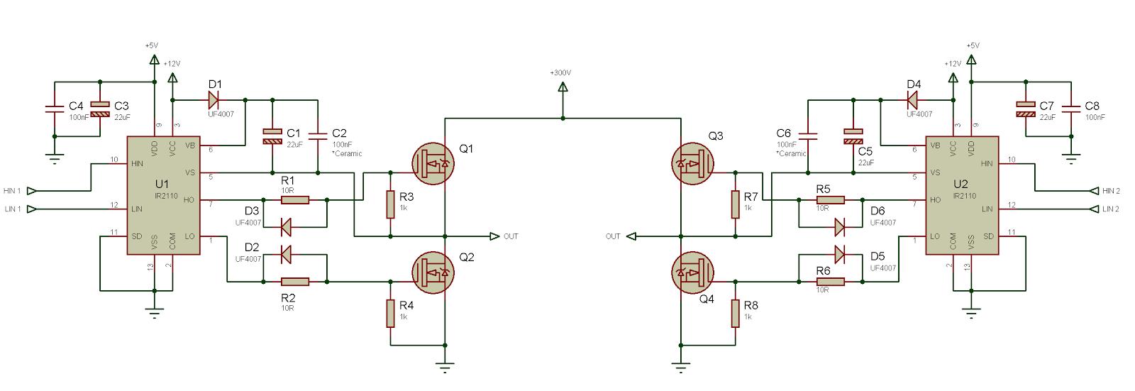 Схема включения ir21844 для управления полумостом