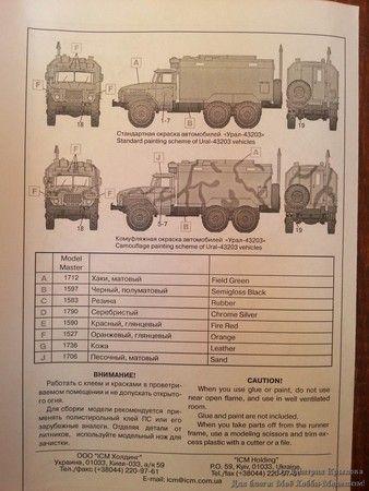 Сборная модель Урал-43203 в масштабе 1/72 от ICM