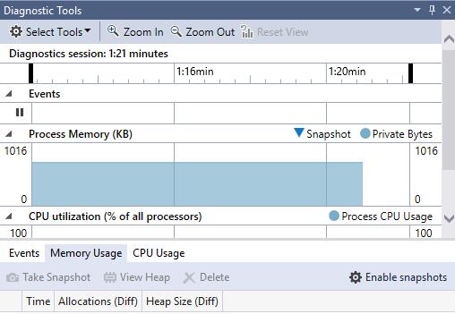 Новый профилировщик памяти в Visual Studio 2015