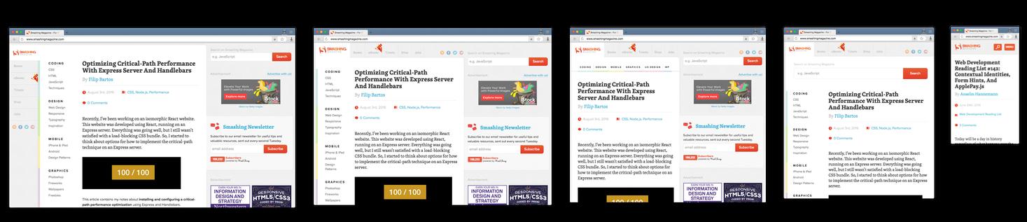 Сайт smashingmagazine.com на различных размерах экранов