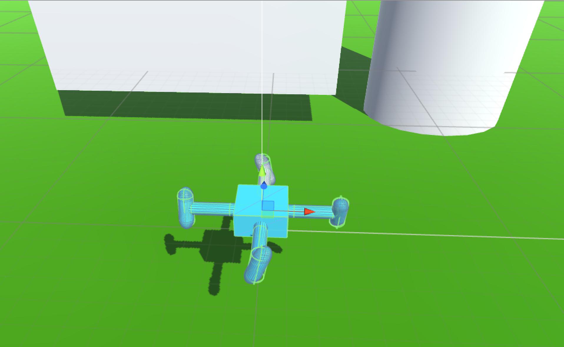 КПДВ. Виртуальный квадрокоптер в окружении параллелепипеда и цилиндра