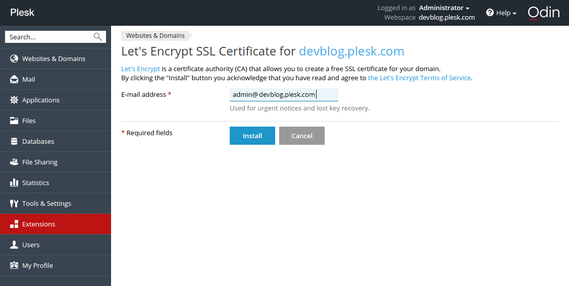 Let's Encrypt in a Plesk-panel