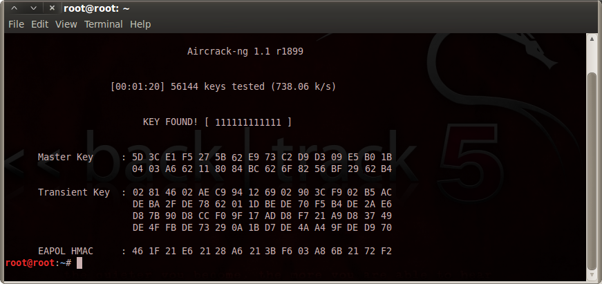 aircrack key found