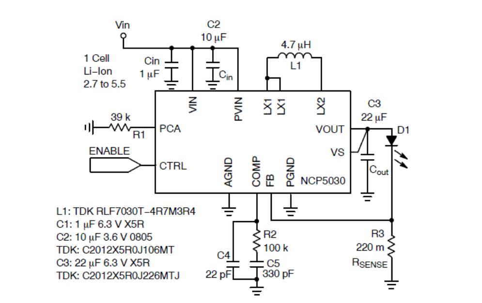Рис. 3 Схема включения NCP5030