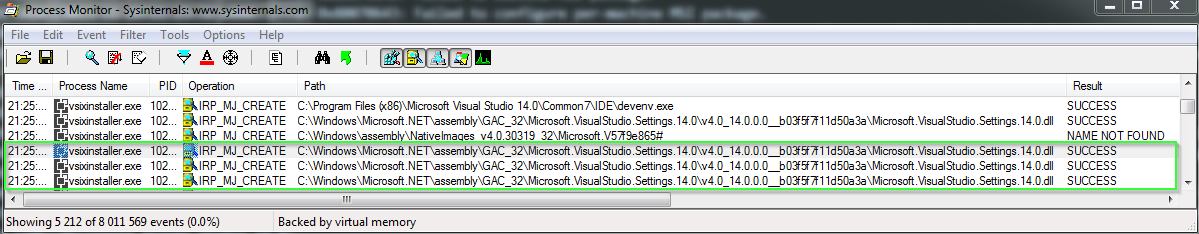 Investigation of a setup error of the Visual Studio of 2015