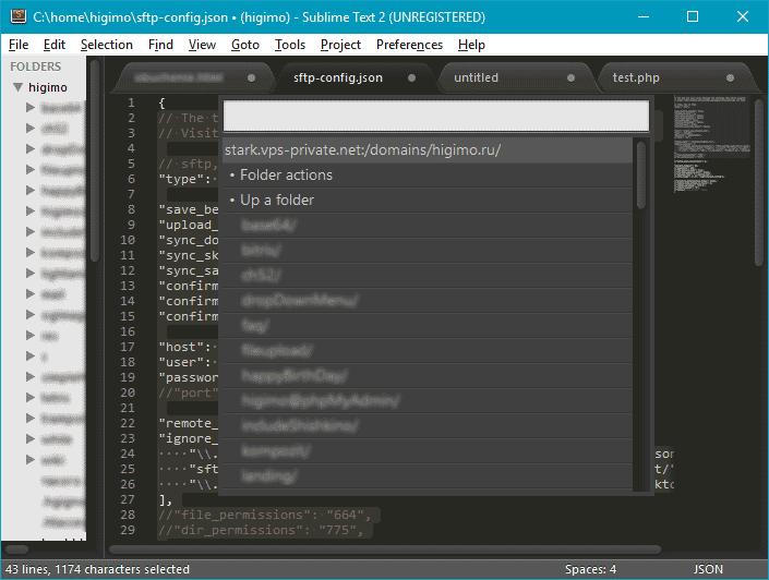 Интерфейс программы Sublime Text