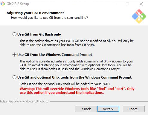 выбор изменений PATH при установке GIt