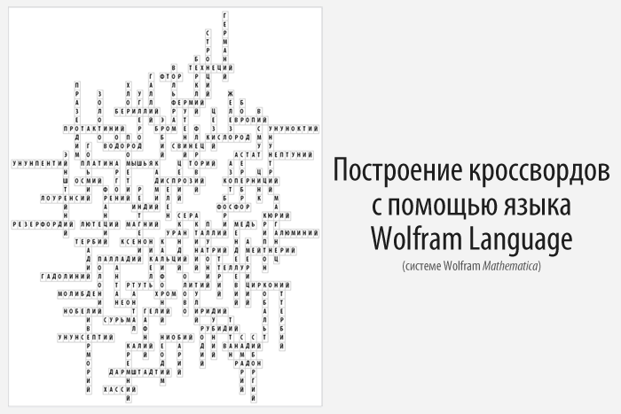 Построение кроссвордов с помощью языка Wolfram Language (Mathematica)