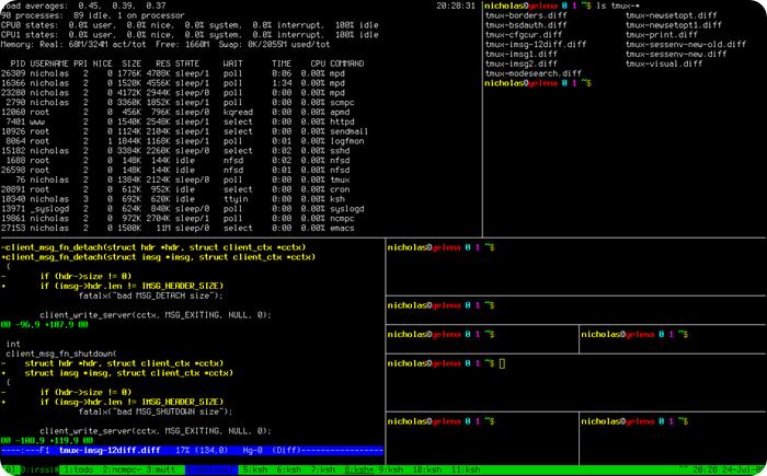 Шпаргалка по работе с Tmux (терминальный мультиплексор)