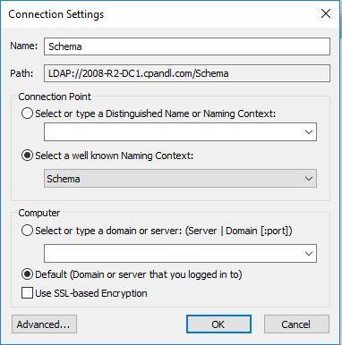 Підключення до схеми (schema) AD в ADSIEdit