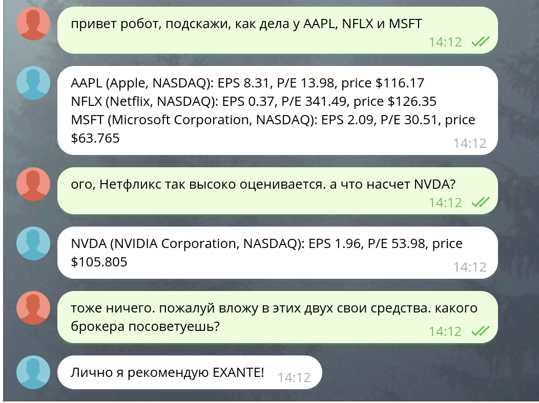 Наука и техника: Финансовый Telegram-бот за 30 минут с Market Data API