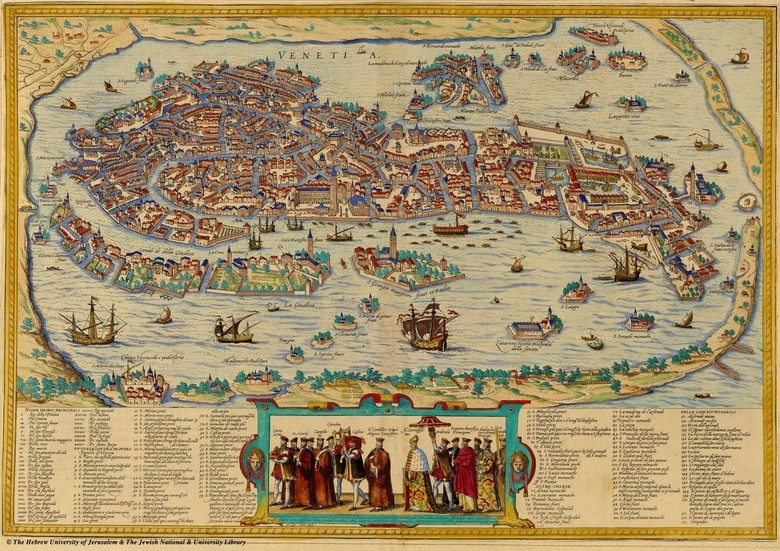The 1565 Map of Venice, drawn in a style still used in tourist guides.