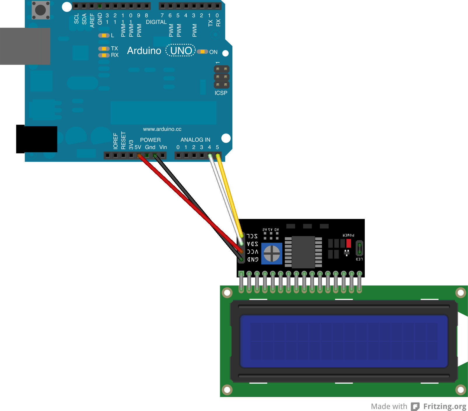 I2C 16x21602 LCD Display for Arduno - DFRobot