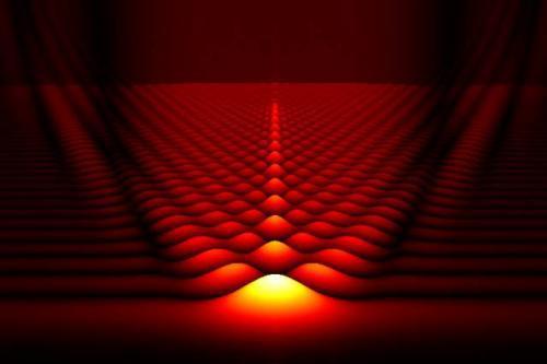 Пространственное распределение ускоряющегося волнового пакета электрона. Чем ярче область, тем сильнее заряд.