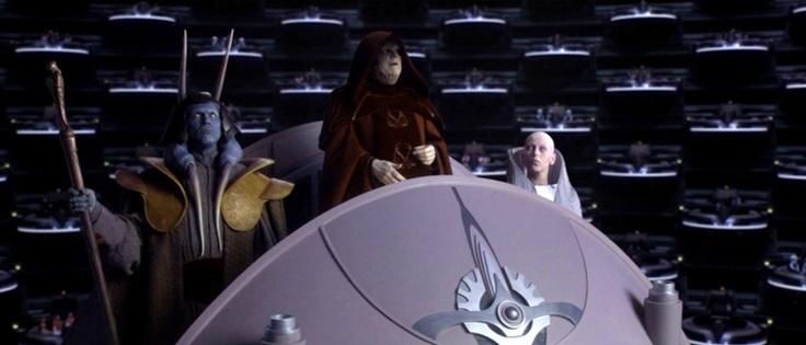 Звёздные войны. Эпизод III: Месть ситхов. Сцена с выступлением, пока еще, канцлера Палпатина в сенате.
