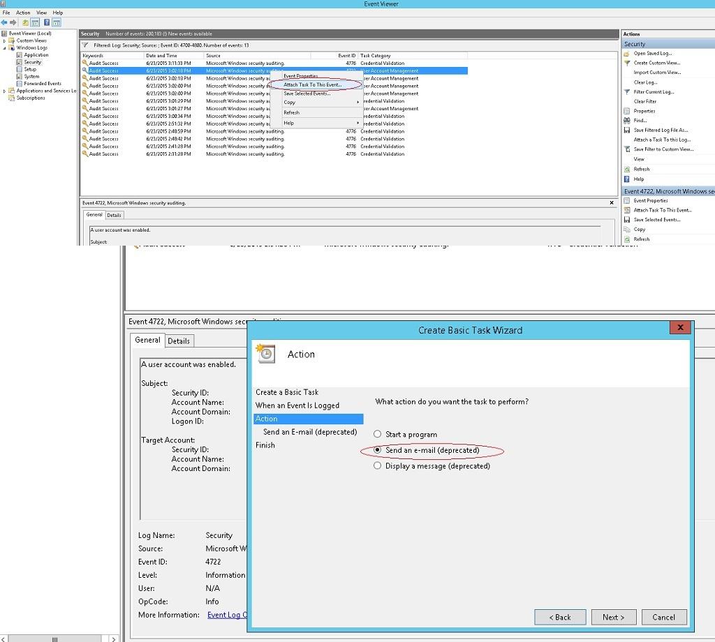 Мониторинг и оповещение о событиях в журналах Windows: отправка на E-mail в Windows Server 2012 R2
