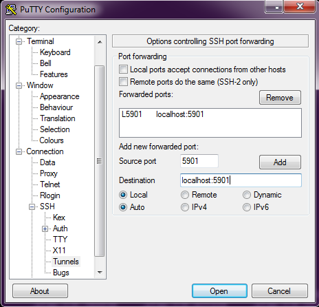 The VNC installation of the server, and setup of its work over SSH