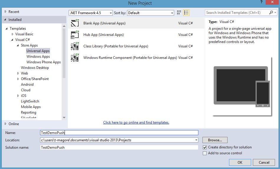 В Visual Studio создадим