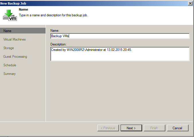 Creating a task for backing up virtual machines