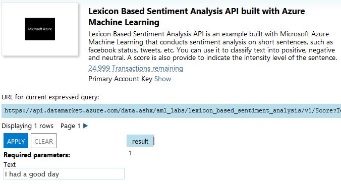 Анализ тональности текста в Excel с помощью Azure Machine Learning и Power Query