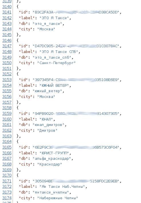 Список компаний в JSON