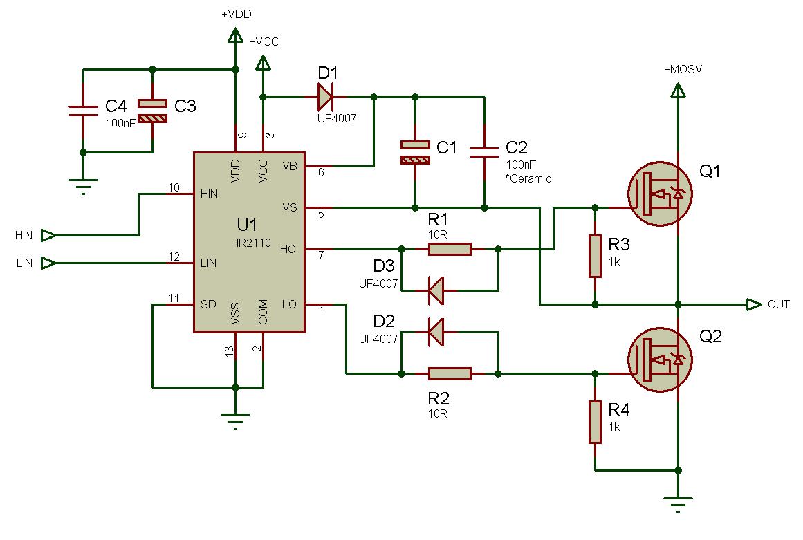 IR2110, IR2113 - Драйвер ключей нижнего и верхнего уровней
